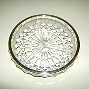 Cut Glass 3-Part Relish Dish ~ Silverplate Rim