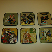 Japanese Plastic Coasters ~ Souvenir ~ Geisha & Warriors