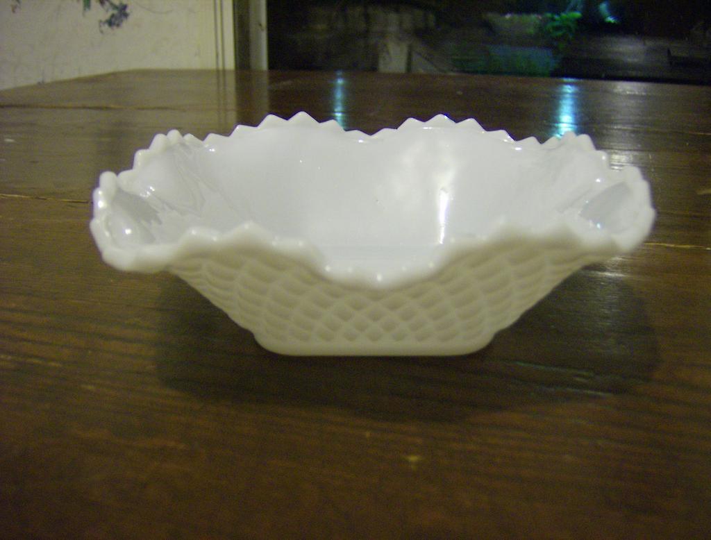 Hazel Atlas Diamond Squares Milk Glass Candy Dish from