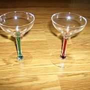 Crystal Martini Glasses with Colored Stems