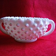 Fenton Milk Glass Hobnail Handled Nut Bowl
