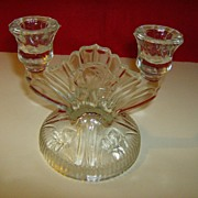 Jeannette Glass Iris Double Light Candlestick