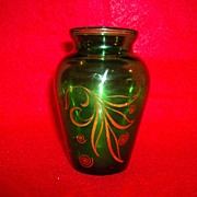 Anchor Hocking Forest Green Glass Vase with Gold Leaf Design