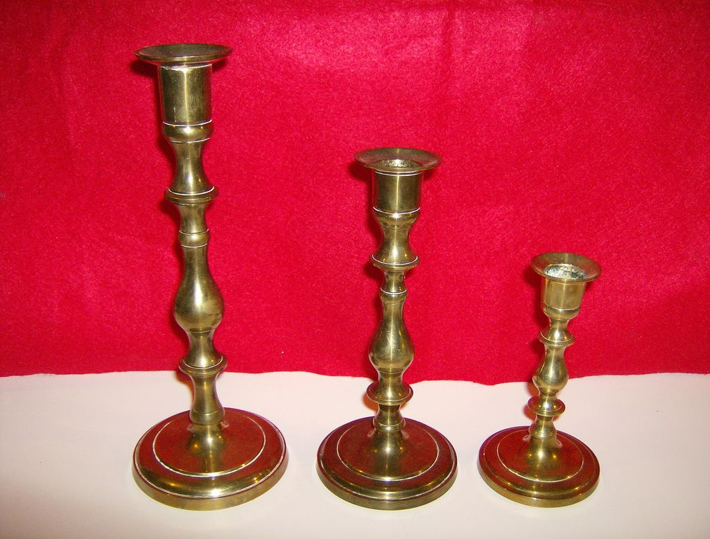 Brass Candlesticks ~ Made in India ~ Set of 3