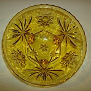 Anchor Hocking Amber Glass 3 Toed Bon Bon Dish