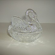 24% Lead Crystal ~ Swan Trinket Dish ~ 2 Part