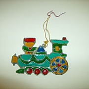 Kurt S. Adler Stained Glass Christmas Ornament ~ Train ~ 1979