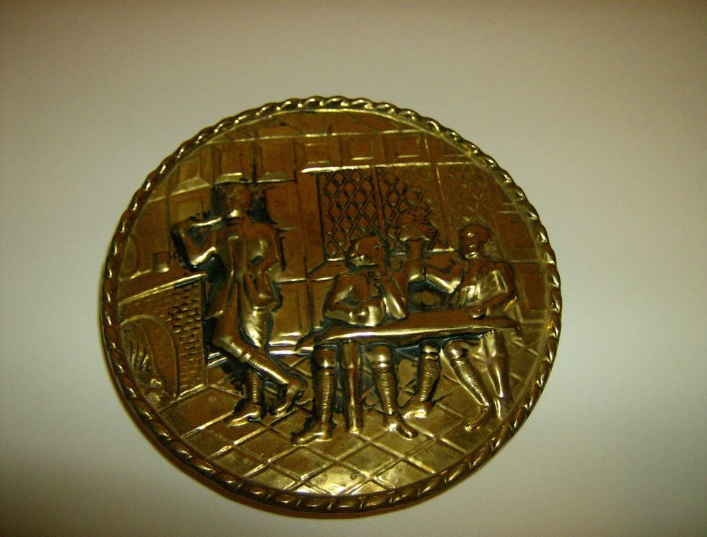 Brass Relief Wall Pocket with an English Pub Scene
