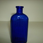 Cobalt Blue  Ribbed ~ Iodine Bottle ~ Hazel Atlas