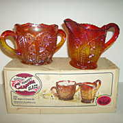 Iridescent Sunset Carnival Glass ~ Creamer & Open Sugar