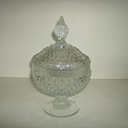 Low Footed Candy Box in the Diamond Point ~ Clear Pattern by Indiana Glass