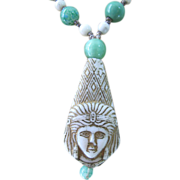 1920's Max Neiger Figural Egyptian Revival Molded Glass Pendant Necklace
