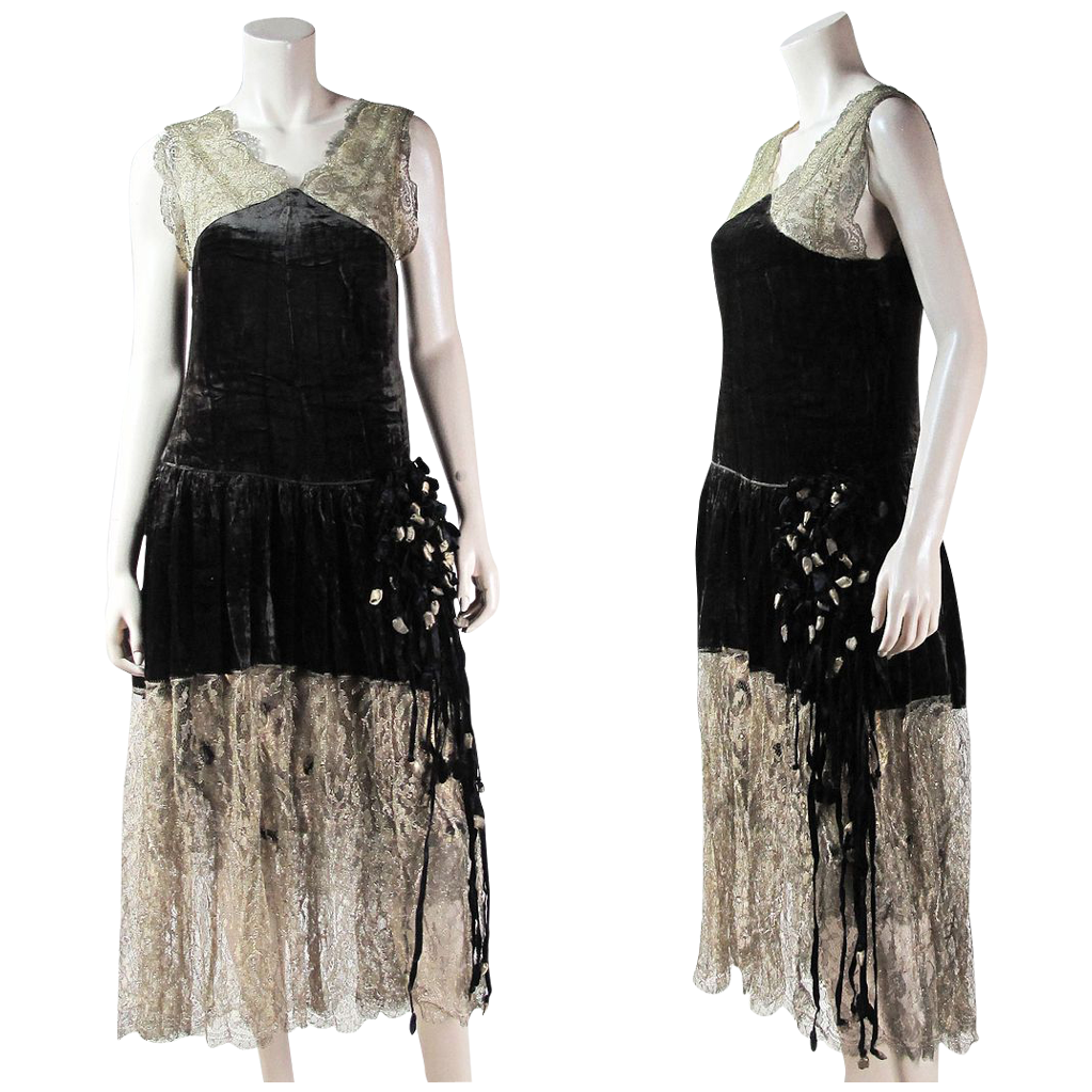 Couture Quality Ca. 1920 Embellished Metallic Lace & Gold Lame' Gown