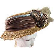 Exceptional Edwardian Titanic Era Decorated Straw & Raffia Hat