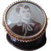 Antique Edwardian 10K Gold Photo Pin With Photo