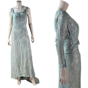 Two Piece 1930's Lame' Jacket & Gown With Train