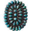 Vintage Navajo Sterling Silver & Petit-Point Turquoise Ring Signed S.M. Bahe