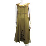 1920's Sleeveless Silk & Silk Chiffon Dress With Velvet Appliqu�s
