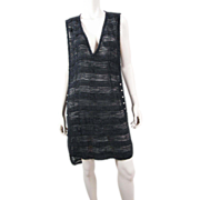 Textural Chanel Tabard Dress With Faux Pearls, Chains & Silver Tinsel Threads
