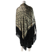 Art Deco Period Reversible Gold Lam� Fringed Shawl