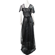 Fluttery Antique Edwardian Black Lace Gown With Train