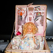 "6 1/2"" Nancy Ann Storybook Doll in Sewing Basket"