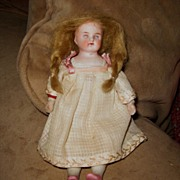 "SALE 5 1/2"" Bisque Doll on Cloth Body 1900"
