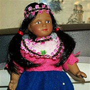 "SALE Adorable Full-Bodied 7 1/2"" Fully Jointed Porcelain Native American Indian Girl in ."
