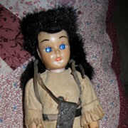 "SALE 8"" Hard Plastic 1940s Daniel Boone Doll in Authentic Costume"