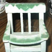 SALE Cute Vintage Green Wood Dollhouse High Chair for Baby