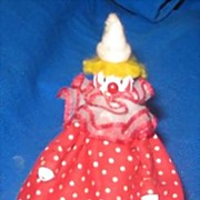 "SALE Miniature 4"" Vintage Clown Doll 1940s"