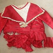 SALE Antique Deep Red Doll Dress for Parts or Restoration