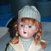 "12"" Mystery German Bisque Doll in Original Clothes."
