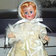 "8"" 1940s Hard Plastic Girl in Winter White Outfit"