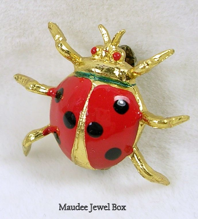 Signed OPFA Vintage Enamel Lady Bug Brooch Pin in Gold Tone