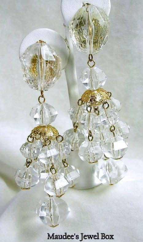 vintage clear acrylic beaded chandelier clip earrings from