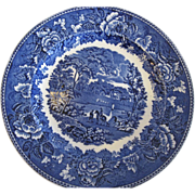 "REDUCED Wedgwood Flow Blue/Transfer Ware 10"" Plate, ""Landscape"" Pattern"