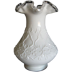 Fenton  Silver Crest  Milk Glass Vase in Spanish Lace Pattern