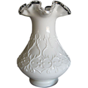 REDUCED Fenton  Silver Crest  Milk Glass Vase in Spanish Lace Pattern