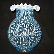 "Gorgeous ""Mosser"" Opalescent Blue ""Fern & Daisy"" Huge Vase"