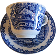 REDUCED Flow Blue Secnic  Cup & Saucer in Farm Pattern
