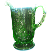 REDUCED Opalescent & Hobnail Pitcher Green Cable & Grape Pattern