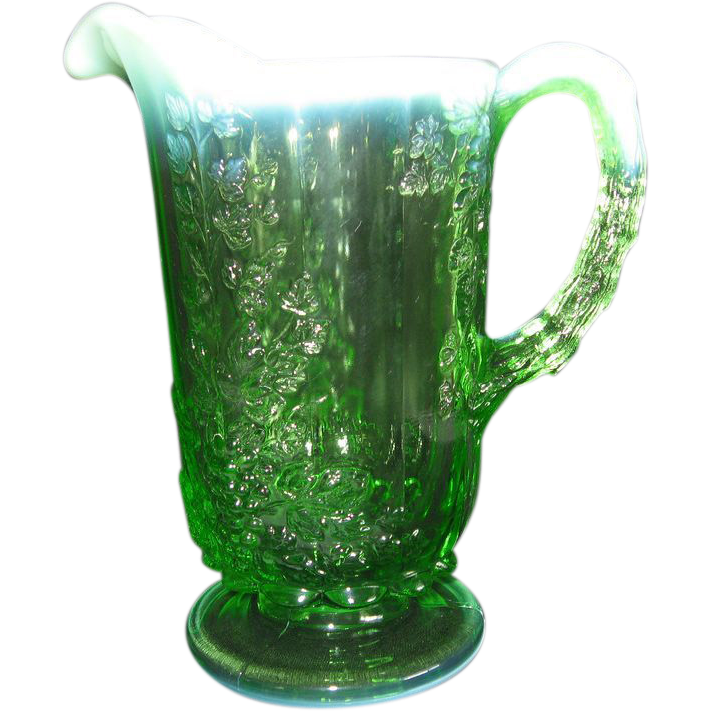 Opalescent & Hobnail Pitcher Green Cable & Grape Pattern