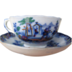Flow Blue 1845 to 1850, Child's Polychrome Cup & Saucer, Pattern &quot;Servants&quot;