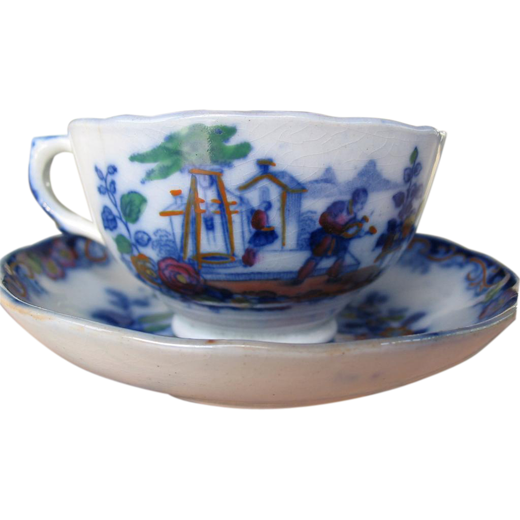 "Flow Blue 1845 to 1850, Child's Polychrome Cup & Saucer, Pattern ""Servants"""