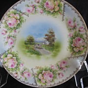 REDUCED RS Prussia Hand Painted Plate, Sheep Herder Scene