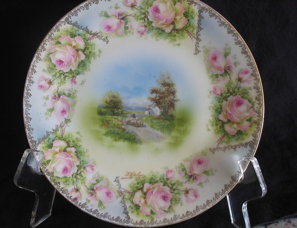 RS Prussia Hand Painted Plate, Sheep Herder Scene