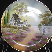 "SOLD RS Prussia ""House In Woodland Scene Plate"" Hand Painted, Mint"