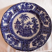 "REDUCED Flow Blue ""Kyber"" Plate By Wm. Adams & Sons"