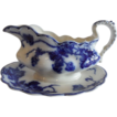 "Flow Blue Rare ""Warwick"" Gravy Boat With Attached Underplate"